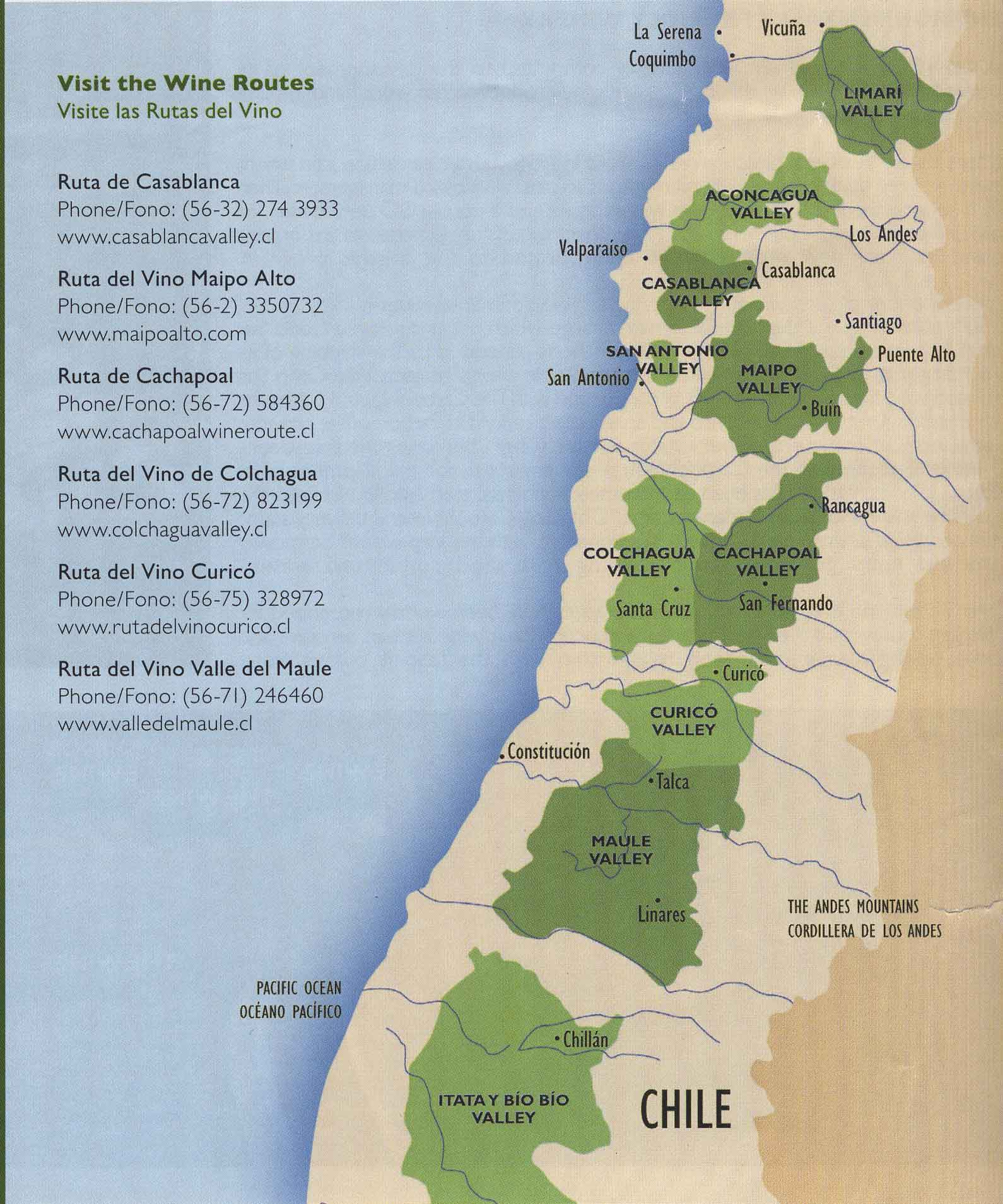 Overview of Chile's wine valleys